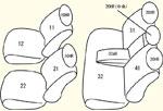 18系(グレードC/2列目背4:2:4分割可倒式パワーシート)用 セット内容イメージ図