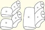 1列目全席分・2列目全席分・枕カバー4個 セット内容イメージ図