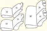 1列目全席分(枕一体型)・2列目全席分・枕カバー2個 セット内容イメージ図