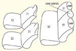 130系1列目枕一体型/2列目背 左右分割型/2列目中央枕有り セット内容イメージ図