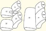 K13系2列目背もたれ左右分割型用 セット内容イメージ図