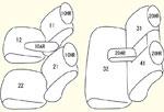 E12系 2列目背左右分割型/2列目中央肘掛け有り/中央枕無し用 セット内容イメージ図