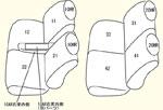 1列目全席分(運転席ポケット/助手席シートバックテーブル対応)・2列目全席分・枕カバー4個・1列目用肘掛けカバー1個(収納ボックス対応) セット内容イメージ図